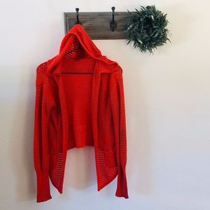 Free People Orange Knit Hoodie Sweater S